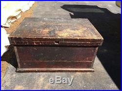 Antique Carpenters Wood Tool Chest Box Ca 1900 Hidden Drawer Old Barn Find