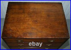 Antique Circa 1860 Large 122cm Tall Mahogany Military Campaign Chest Of Drawers