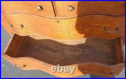 Antique Curved Front Chest of Drawers Detachable Swivel Mirror Oak BEAUTIFUL