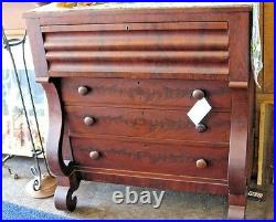 Antique Empire Style Chest of Drawers Mahogany Furniture 46 Tall And 22 Dip