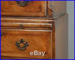 Antique English Georgian Style Burr Walnut Inlaid Tallboy Chest of Drawers