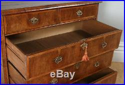 Antique English Queen Anne / Georgian Figured Walnut Two Piece Chest of Drawers