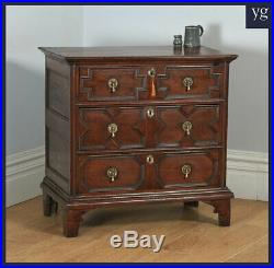 Antique English William & Mary Solid Oak Panelled Geometric Chest of Drawers