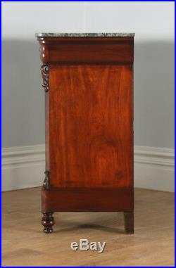 Antique French Louis Flame Mahogany & Marble Commode Chest of Drawers (c. 1850)