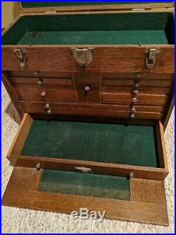 Antique H Gerstner & Sons Wood Machinist Tool Box Chest 11 Drawers +2 KEYS