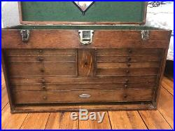 Antique H Gerstner & Sons Wood Machinist Tool Box Chest 11 Drawers WithKEY & LOCKS