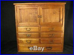 Antique Japanese 7 Drawer 2-door Kiri Wood (paulownia) Document Tansu Chest