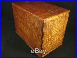 Antique Japanese Burl Mulberry Wood 6 Drawer Haribako Sewing Tansu Chest Secre