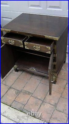 Antique Korean Carved 2 Drawers Chest /cabinet With Brass Etched Decoration #1