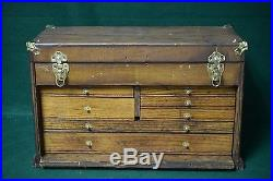 Antique Pontiac Motor Division Machinist Tool Box Chest Solid Wood 7-Drawer