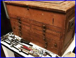 Antique Primitive 11 Drawer Machinist Wood Tool Box / Chest Secret Locking 1800s