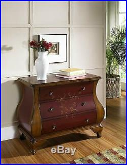 Antique Red and Brown Elegant Bombay Chest 3 Storage Drawers Florals Design