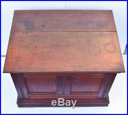 Antique Spool Chest Clark's 4 Drawer Wood Sewing Cabinet Thread Box Furniture