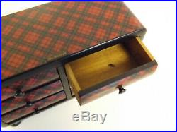 Antique Tartan Ware Rare Apprentice / Miniature Chest Of Drawers. 1900's