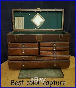 Antique UNION 7 Drawer & LG. Upper Machinist Tool Box Oak Wood Chest old mirror