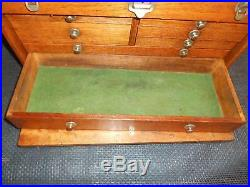 Antique UNION 7 Drawer Oak Wood MACHINIST TOOL CHEST Cabinet Jeweler Case #391