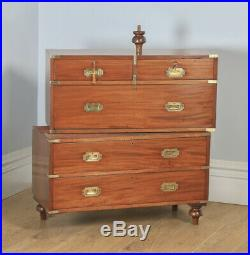 Antique Victorian Colonial Mahogany & Brass Campaign Chest of Drawers with Case