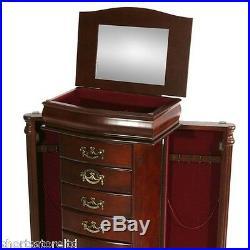 Antique Vintage Armoire Jewelry Box 6 Drawer Storage Chest Stand Storage Wood