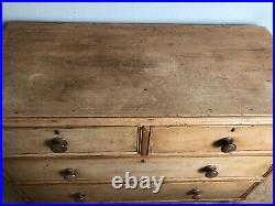Antique Vtg English Pine Chest of Drawers Dresser Wooden Cabinet Changing Table