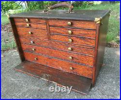 Antique Wood Oak Brass Machinist Jeweler Tool Chest Box 9 Drawer 18 x 9 x 12
