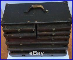 Antique c1915 Union Oak Wood 8 Drawer Machinist Tool Box Chest