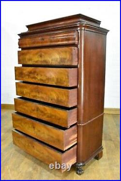 Antique flame mahogany continental tallboy chest of drawers