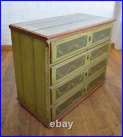 Antique rustic solid wood continental large painted chest of drawers