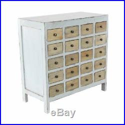Apothecary 20 Drawer Cabinet Chest White Vintage Rustic Style Distressed Finish
