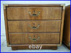 Authentic Pair Drexel Heritage Accolade Campaign 3 Drawer Chests Nightstands