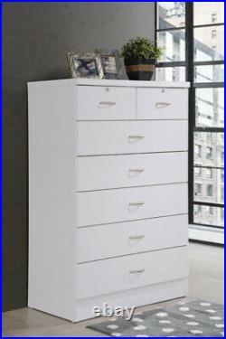 BEDROOM DRESSER 7-Drawer Chest of Drawers Storage Organizer White