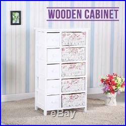 BN Bedroom Storage Dresser Chest 5 Drawers with Wicker Baskets Cabinet Wood New
