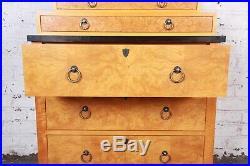 Baker Furniture Biedermeier Burl Wood and Primavera Highboy Chest of Drawers