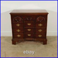 Baker Furniture Company Chippendale Goddard 4 Drawer Dark Inlaid Cherry Chest