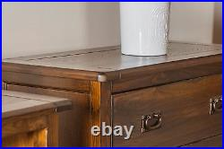 Baltia Dark Wood Chest of 5 Drawers Solid Wood Large Storage Bedroom