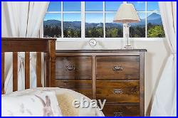 Baltia Dark Wood Chest of 6 Drawers Solid Wood Large Storage Bedroom