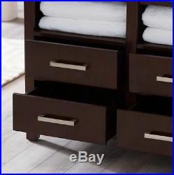 Bathroom Floor Cabinet Linen Storage Chest With Drawers Shelf Wood Espresso Bath