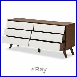 Baxton Studio Hildon 6 Drawer Double Dresser in White and Walnut Brown