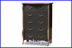 Baxton Studio Romilly Country Cottage Farmhouse Black and Oak-Finished Wood 5