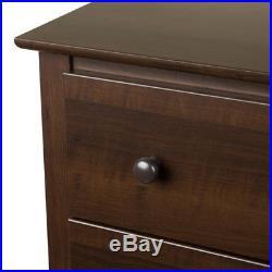 Bedroom 5 Drawer Dresser Chest Espresso Brown Wood Furniture Storage Organizer