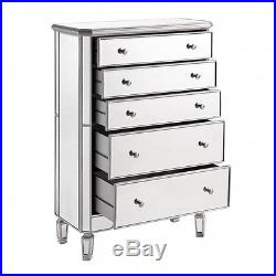 Bedroom Furniture Dresser 5 Drawer Cabinet Mirrored Chest of Drawers Storage New