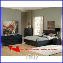 Bedroom Modern Wood Storage Furniture Dresser Chest Double 6 Drawer Black New