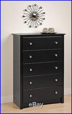 Bedroom Sonoma 5 Drawer Dresser / Chest Black NEW