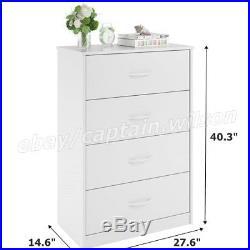 Bedroom Storage Dresser Chest 4 Drawer Modern Wood Furniture White