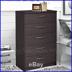 Bedroom Storage Dresser Chest 5 Drawer Modern Wood Furniture Brown Espresso