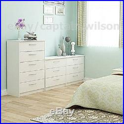 Bedroom Storage Dresser Chest 5 Drawer Modern Wood Furniture White