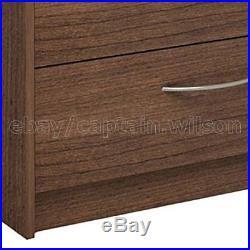 Bedroom Storage Dresser Chest Double 6 Drawer Modern Brown Walnut