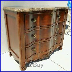 Bernhardt 39.5 Solid Mahogany Wood Marble Top Dresser Chest of 3 Drawers