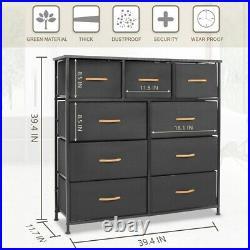 Bigroof Chest of Fabric Drawers Dresser Furniture Bins Bedroom Storage Organizer
