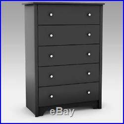 Black 5 Drawer Dresser Chest Drawers Wooden Clothes Storage Bedroom Furniture