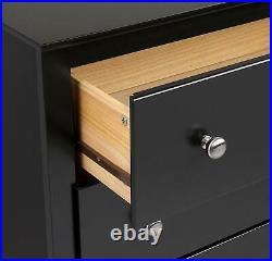 Black 6 Drawer Dresser Chest Drawers Wooden Storage Modern Bedroom Furniture